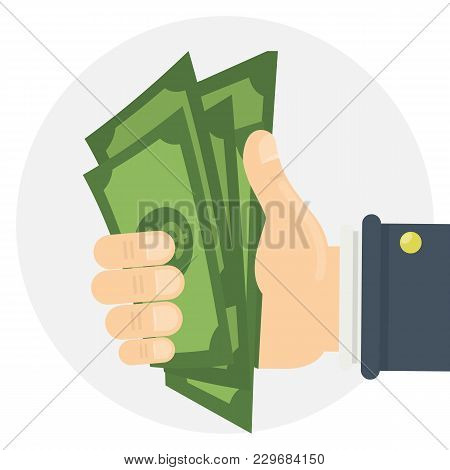 Isolated Hand With Money On White Background.