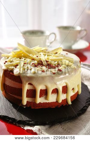 Classic American Dessert Red Velvet Cake Is Traditionally A Red, Red-brown Chocolate Layer Cake, Lay