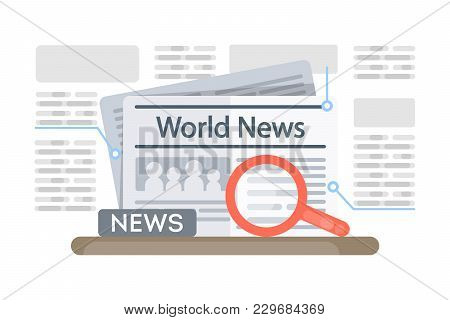 World News Newspaper With Magnifying Glass On White.