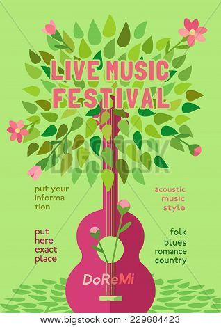 Template Design Poster With Acoustic Guitar Silhouette Spring Green Leaves. Design Idea Live Music F