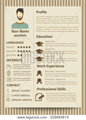 Modern Flat Male Resume Tempate With Design Elements. Vector Of Resume For Business Company Illustra