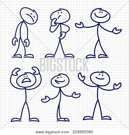 Simple Hand Drawn Stick Figures Set Vector. Figure Stick Drawing Sketch Character Illustration