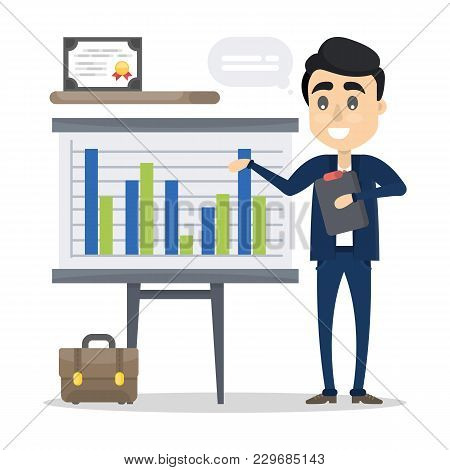 Man With Business Presentation Showing Data And Graph.