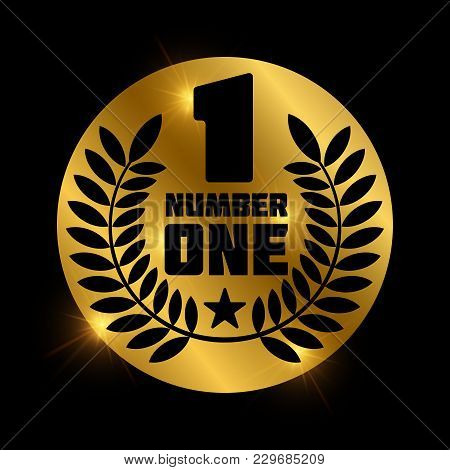Number One Retro Label On Shiny Golden Circle. Number 1 Label And Badge, Vector Illustration