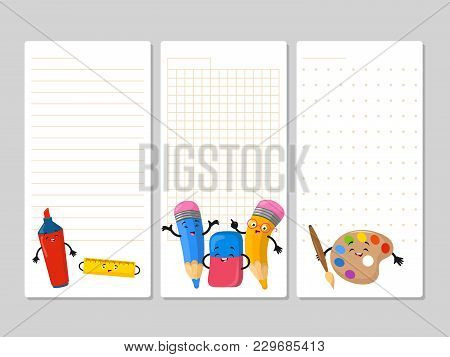 Notepad Pages With Cute Cartoon Pencils Eraser Marker. Notebook Page With Colored Pencil Illustratio