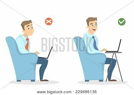 Office Sitting Position. Man Sitting Right And Wrong.