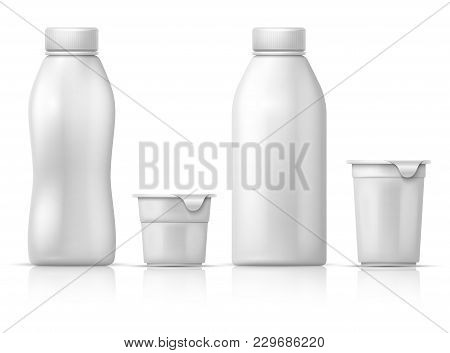 White Blank Round Plastic Yogurt Can, Container And Bottles. Vector Packaging Mockup For Dairy Milk