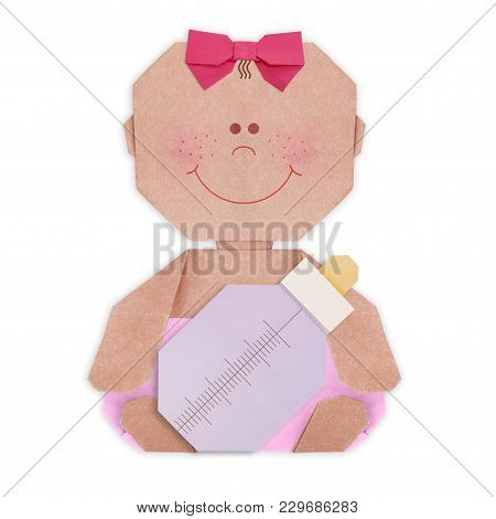 Baby Girl In Nappy And Baby Bottle And Pacifier Origami Baby Shower On A White Background