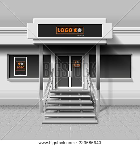 Store Exterior Facade For Branding Design And Advertising Banner. Storefront Building For Business,