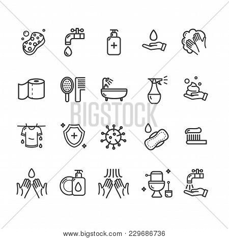Hygiene Signs Black Thin Line Icon Set Include Of Toilet Equipment, Gasket, Paper, Hand And Faucet.