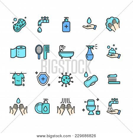 Hygiene Signs Color Thin Line Icon Set Include Of Sponge, Drop, Bottle And Cream. Vector Illustratio