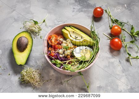 Healthy Vegan Lunch Bowl. Vegan Buddha Bowl. Vegetables And Nuts In Buddha Bowl On Concrete Backgrou