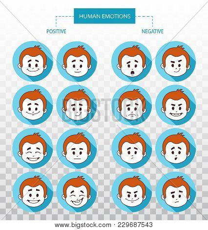 Set Of Flat Icons With People Facial Expressions.set Of Positive And Negative Emotions. Different Ma