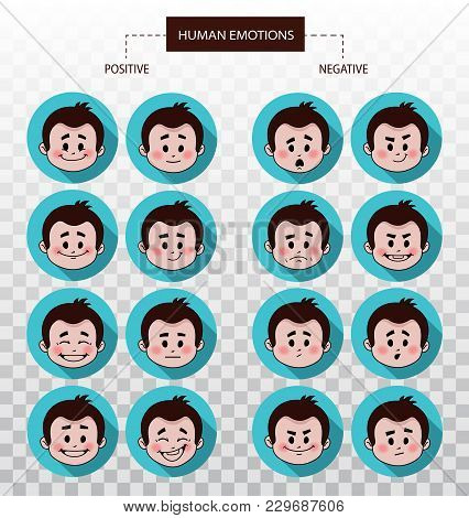 Set Of Flat Icons With People Facial Expressions. Set Of Positive And Negative Emotions. Set Of Male