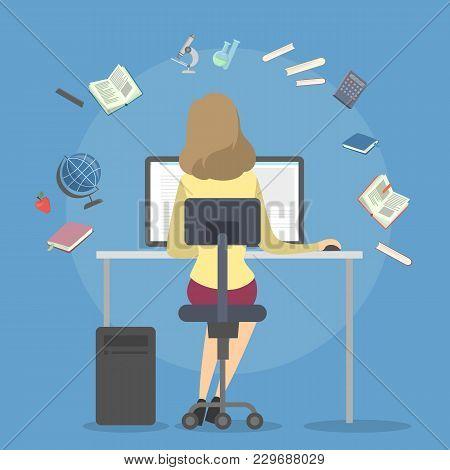 People Studying Illustration. Teen Girl Doing Homework On White.