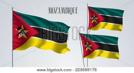 Mozambique Waving Flag Set Of Vector Illustration. Yellow Green Colors Of Mozambique Wavy Realistic