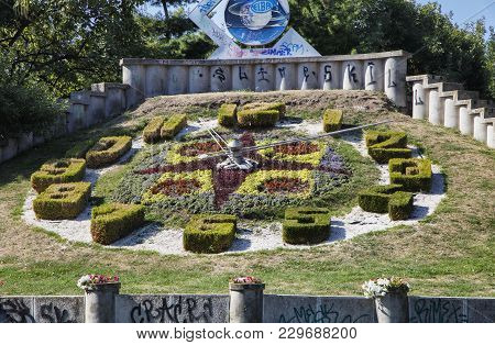 Timisoara, Romania - September 08, 2017:  The Big Floral Clock Is One Of The Main Touristic Attracti
