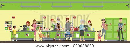 Supermarket Interior Illustration. People Paying On Counter.