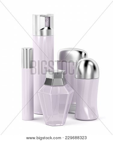 Set Of Female Cosmetic Products (perfume, Body Sprays, Roll-on And Stick Antiperspirant Deodorants).