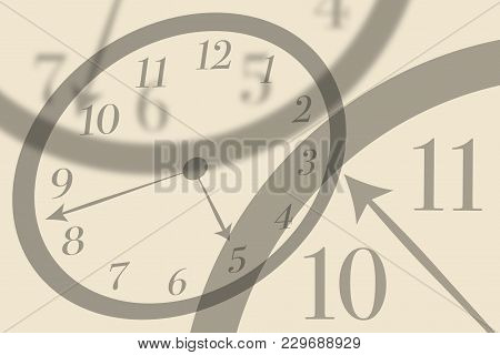 Artistic View Round Isolated Clocks With Latin Numerals Intersect With Each Other To Show Time Passi