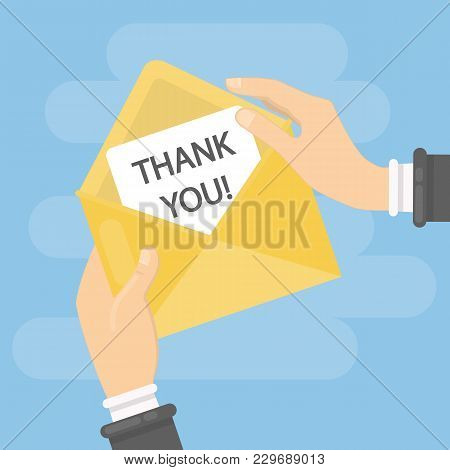 Thank You Note In Envelope In Hands.