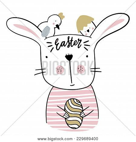 Card With Calligraphy Lettering Easter With Bunny And Nestling. Vector Illustration For Easter.