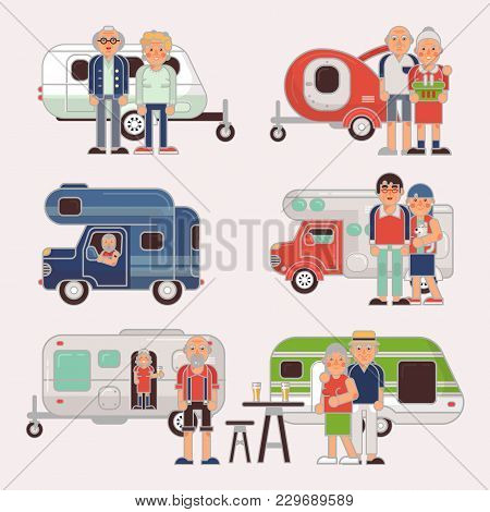 Senior Travel Vector Elderly Family Couple Travelling On Camping Trailer And Retired Character On A