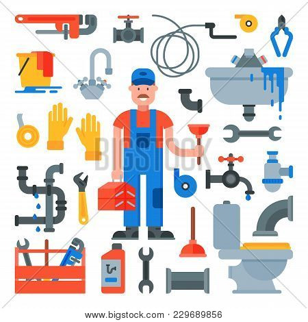 Plumbing Vector Plumber Character Repairing Pipes With Tools And Pipeline Equipment Illustration Set