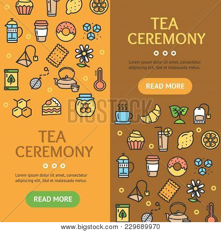Tea Ceremony Banner Vecrtical Set With Color Outline Icons Include Of Leaf, Kettle And Teabag. Vecto