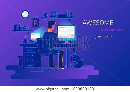 Man Working With Pc At His Work Desk And Testing Ui And Ux. Gradient Line Vector Illustration Of Stu