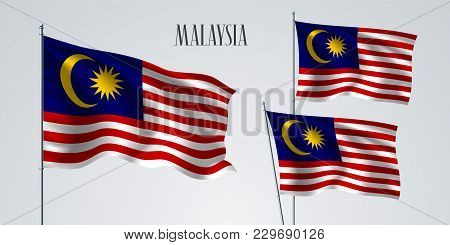 Malaysia Waving Flag Set Of Vector Illustration. Blue Red Colors Of Malaysia Wavy Realistic Flag As