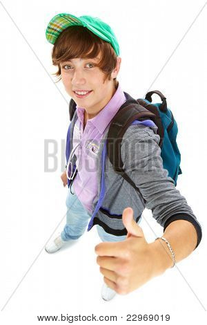 Portrait of teenage boy with backpack looking at camera and showing thumb up
