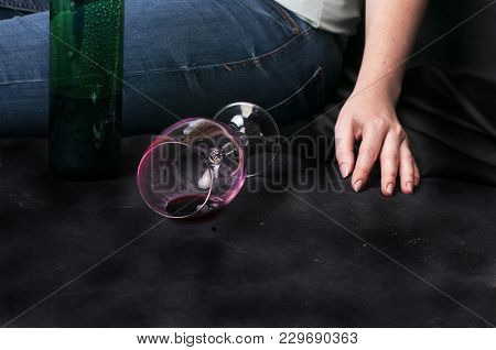 Drunk Woman Addicted To Alcohol Holding A Glass Of Wine.