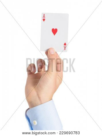 Human Hand Holding Ace Of Heart Over White Background