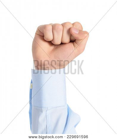 Close-up Of Clenched Fist Isolated Over White Background