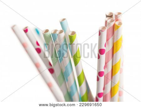 Close-up Of Colorful Straws Over White Background