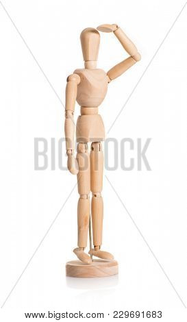 Wooden Dummy Saluting Over White Background