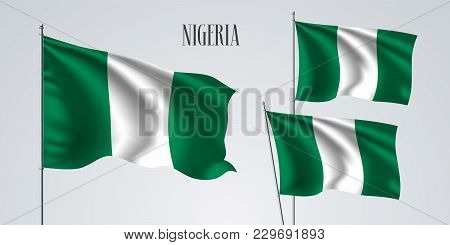 Nigeria Waving Flag Set Of Vector Illustration. Green White Colors Of Nigeria Wavy Realistic Flag As