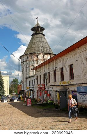 Settlement Borisoglebsky, Russia - 18 July 2017: Walls And Towers Of The Rostov Boris And Gleb Monas