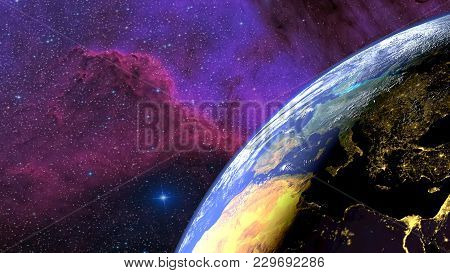 Earth Seen From The Sky With The Alternation Day Night And A Nebula In The Background. 3d Rendering