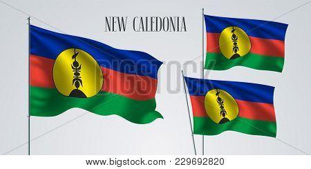 New Caledonia Waving Flag Set Of Vector Illustration. Three Stripes And Circle Of New Caledonia Wavy