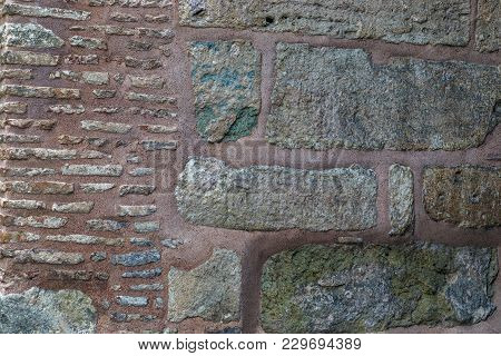 Istambul, Turkey - September 11, 2017: It Is A Fragment Of The Byzantine Masonry Of The Walls Of The