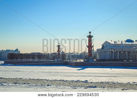 Panorama Of The Spit Of The Vasilyevsky Island In St. Petersburg On A Winter Sunny Day