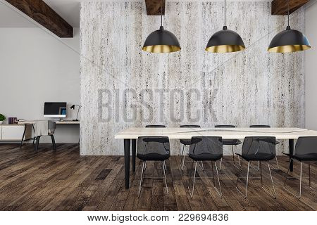 Modern Boardroom With Furniture And Copy Space On Wall. Mock Up, 3d Rendering