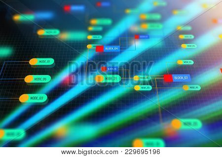 Creative Colorful Technology Node Background. Semiconductor Manufacturing Process And Design Concept