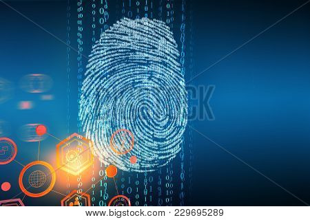 Creative Finger Print Backdrop With Copy Space. Access And Security Concept. 3d Rendering