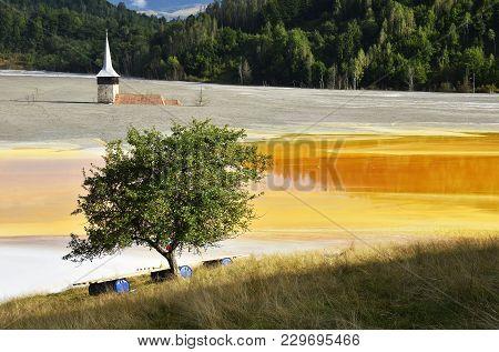 Waste Water Pollution Of A Copper Mine. Geamana, Rosia Montana, Romania