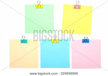 Colorful Stick Notes With Paper Clip Holders Isolated On White Background. Mock Up.
