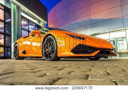 Supercar Lamborghini Huracan Orange Color Parked At The Car Dealership. Russia, Saint-petersburg. 02