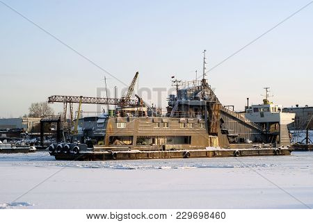 Self-propelled Dredging River Vessel During Wintering In The Backwater